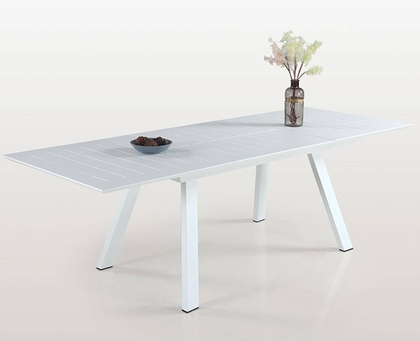 Chintaly Imports Malibu Matte White Outdoor Butterfly Extension Table CHF-MALIBU-DT-WHT-EXT
