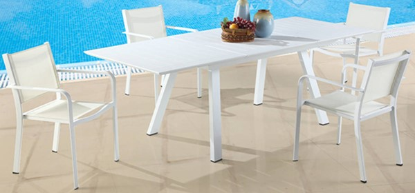 Chintaly Imports Malibu 5pc Outdoor Extension Dining Set with Low Back Chairs CHF-MALIBU-EXT-LB-5PC