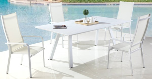 Chintaly Imports Malibu 5pc Outdoor Dining Set with High Back Chairs CHF-MALIBU-HB-5PC