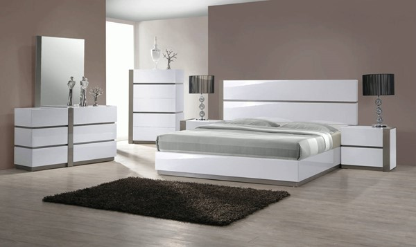 Manila White MDF 2pc Bedroom Set W/Queen Bed And Right Side Nightstand CHF-MANILA-BR-S2