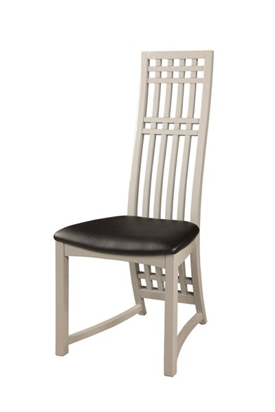 2 Margaret Gloss Gray PVC High Back Lacquer Side Chairs CHF-MARGARET-SC-GRY