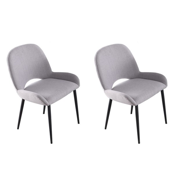 2 Chintaly Imports Marjorie Matte Gray Fabric Side Chairs CHF-MARJORIE-SC-GRY