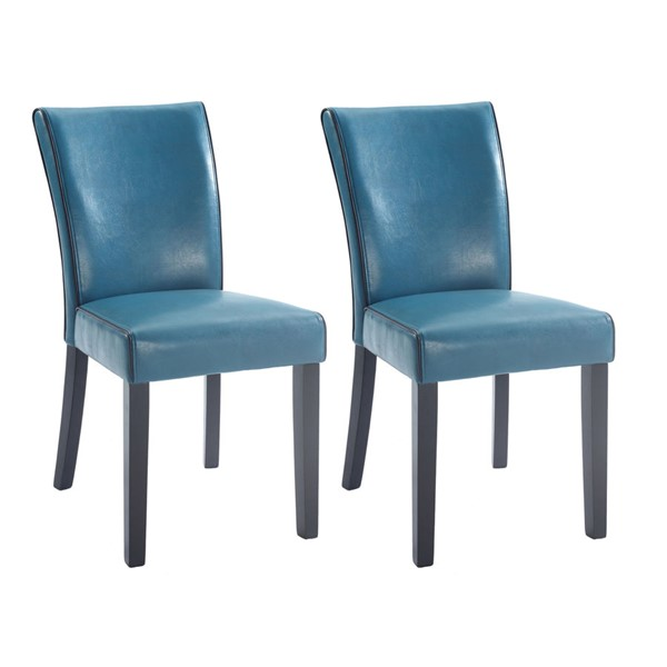 2 Chintaly Imports Michelle Blue Black Parsons Chairs CHF-MICHELLE-PRS-SC-BLU