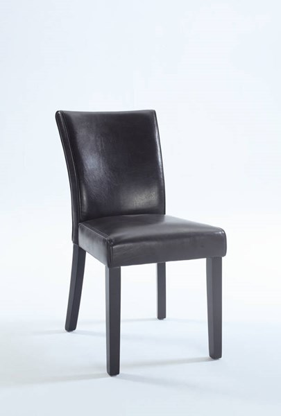 2 Contemporary Brown Bonded Leather Black Wood Parsons Chairs CHF-MICHELLE-PRS-SC-BRW
