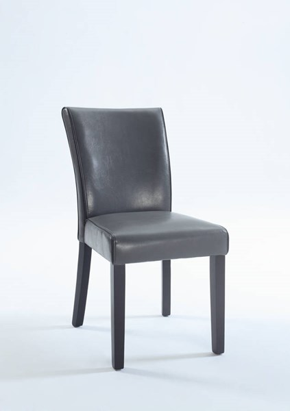 2 Contemporary Gray Bonded Leather Black Wood Parsons Chairs CHF-MICHELLE-PRS-SC-GRY