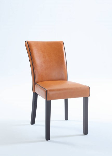 2 Contemporary Orange Bonded Leather Black Wood Parsons Chairs CHF-MICHELLE-PRS-SC-ORG