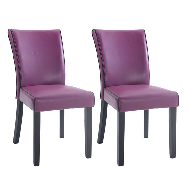 2 Chintaly Imports Michelle Purple Black Parsons Chairs CHF-MICHELLE-PRS-SC-PUP