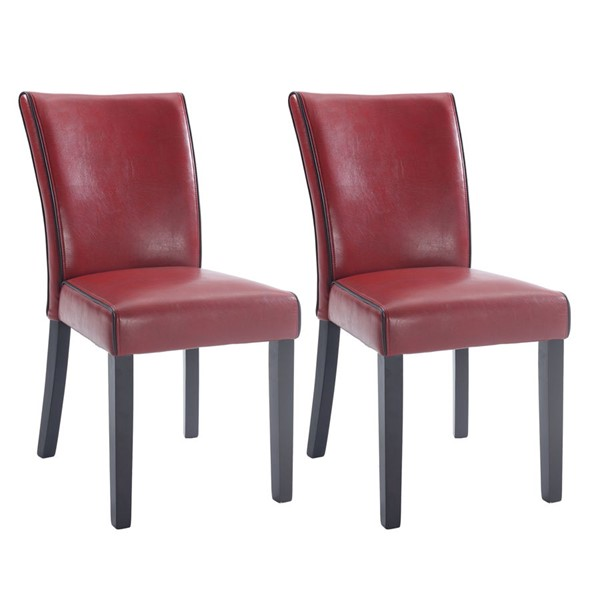 2 Chintaly Imports Michelle Red Black Parsons Chairs CHF-MICHELLE-PRS-SC-RED