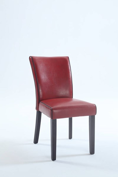 2 Contemporary Red Bonded Leather Black Wood Parsons Chairs CHF-MICHELLE-PRS-SC-RED
