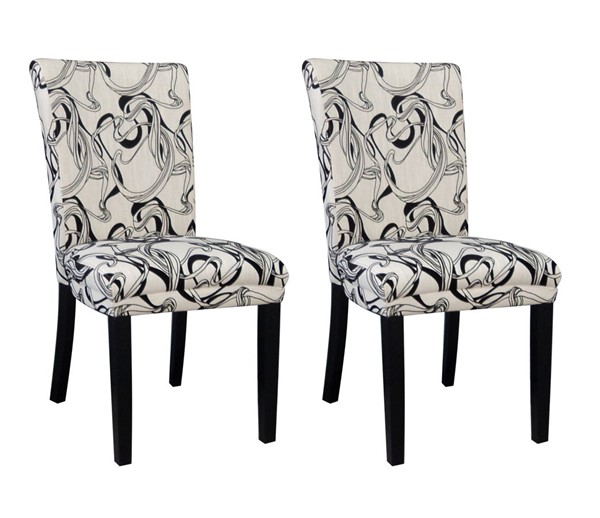 2 Chintaly Imports Misty White Black Side Chairs CHF-MISTY-PRS-SC