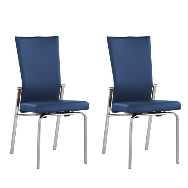 2 Chintaly Imports Molly Chrome Blue Motion Back Side Chairs CHF-MOLLY-SC-BLU