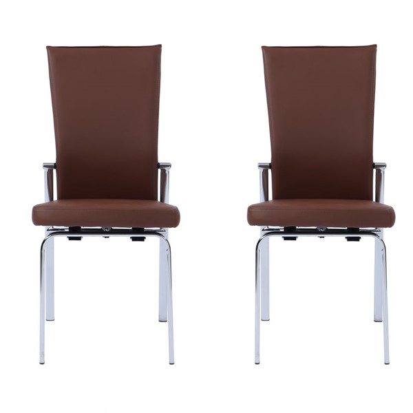2 Chintaly Imports Molly Chrome Brown Motion Back Side Chairs CHF-MOLLY-SC-BRW