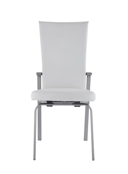 2 Chintaly Imports Molly Contemporary Chrome Motion Back White Leather Side Chairs CHF-MOLLY-SC-WHT-LTH