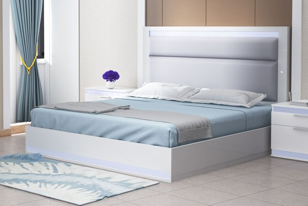 Chintaly Imports Moscow Gloss White Upholstered Beds CHF-MOSCOW-BED-VER