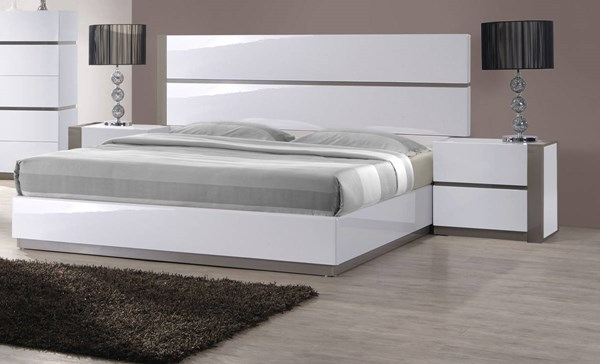 Manila Modern Gloss White Grey Wood Beds CHF-MANILA-BEDS
