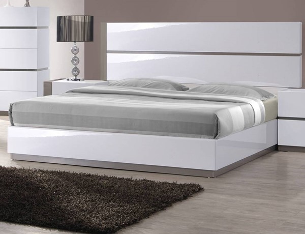 Chintaly Imports Manila Gloss White Grey Queen Bed CHF-MANILA-BED-QUEEN