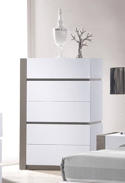 Chintaly Imports Manila Gloss White Grey 5 Drawers Chest CHF-MANILA-CHT