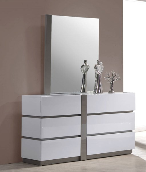 Manila Modern Gloss White Grey 6 Large Drawer Dresser CHF-MANILA-DRS