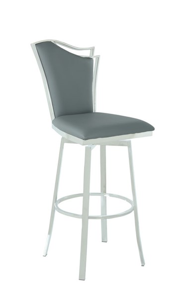 Chintaly Imports Nadia Polished Gray Swivel Bar Stool CHF-NADIA-BS-GRY