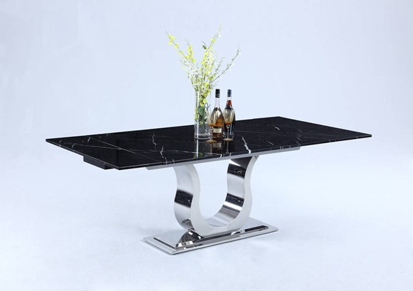 Chintaly Imports Nadia Black Silver Dining Table CHF-NADIA-DT