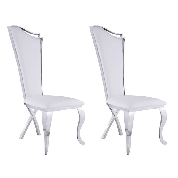 2 Chintaly Imports Nadia White Tall Back Side Chairs CHF-NADIA-SC-WHT-PU