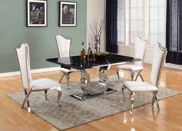 Chintaly Imports Nadia Black White 5pc Dining Room Set The Classy Home