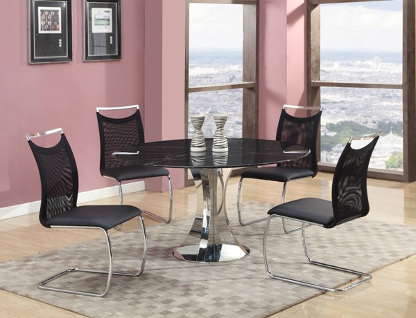 Nadine Black Marble PU Fabric Dining Room Set CHF-NADINE-DT