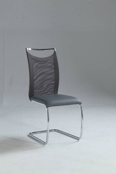 2 Nadine Grey PU Fabric Meshed Back Cantilever Side Chairs CHF-NADINE-SC-GRY