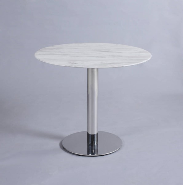 Chintaly Imports Noemi Polished Round Table Pedestal CHF-NOEMI-DT-B