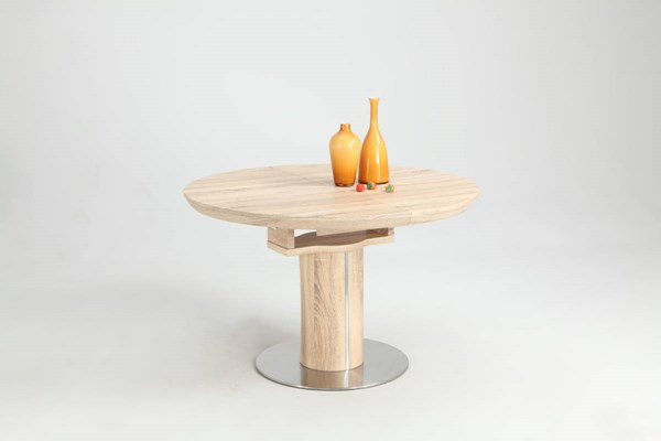 Nora Oak Round Wooden Dining Table Top w/Selfstoring Butterfly Leaf CHF-NORA-DT-OAK-T
