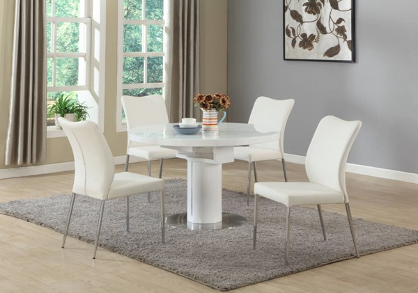 Nora Gloss White Oak Beige Wood PU 5pc Dining Room Sets CHF-NORA-DR-S
