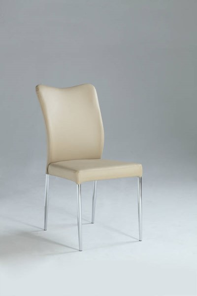 2 Nora Beige Metal PU Curvy Back Side Chairs CHF-NORA-SC-BGE