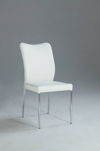 2 Nora White Metal PU Curvy Back Side Chairs CHF-NORA-SC-WHT