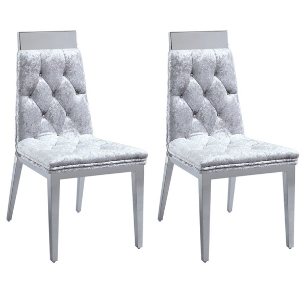2 Chintaly Imports Norma Gray Tufted Chair CHF-NORMA-SC-GRY