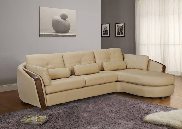 Ontario Full Bonded Leather Right Arm Facing Chaise w/Ash Wood Accent CHF-ONTARIO-RFCS