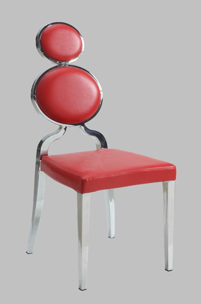 2 Oprah PU Metal Red Double Ring Back Side Chairs CHF-OPRAH-SC-RED