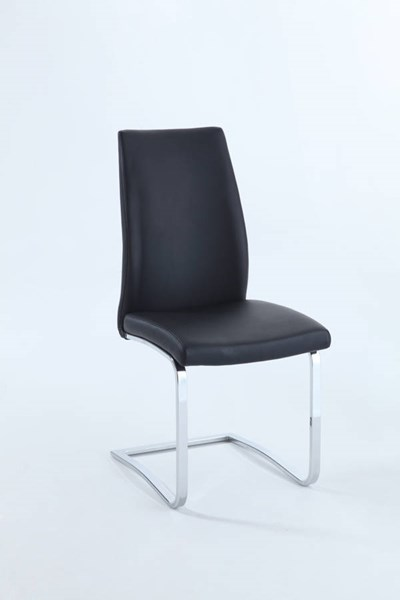 2 Paisley PU Chrome Concave Back Upholstered Side Chairs CHF-PAISLEY-SC-BLK