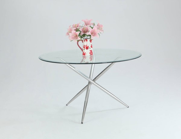 Patricia Contemporary Chrome Glass Metal Dining Table CHF-PATRICIA-DT