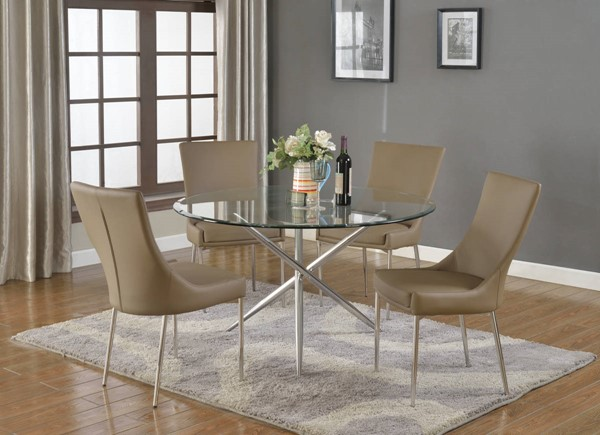 Patricia Contemporary Glass Brown PU 5pc Dining Room Complete Set CHF-PATRICIA-DR-S1