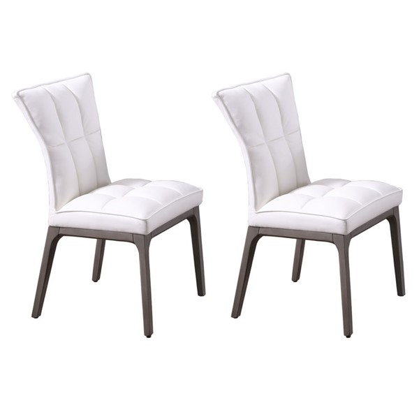 2 Chintaly Imports Peggy Walnut White PU Parson Chairs CHF-PEGGY-PRS-SC-WAL-WHT