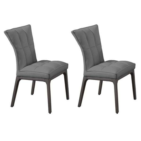 2 Chintaly Imports Peggy Gray PU Parson Chairs CHF-PEGGY-PRS-SC-GRY-GRY