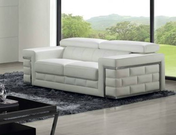 Portland Faux Leather Stainless Legs White Stylish Brick Box Love Seat CHF-PORTLAND-LVS-WHT