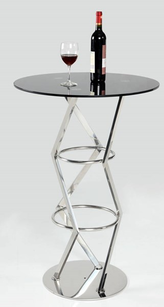 Prince Modern Design Black Glass Pedestal Pub Table Top CHF-PRINCE-PUB-T