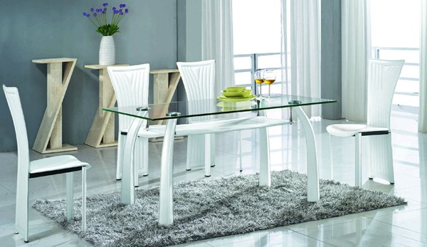 Ramona Modern Glass PVC Metal 5pc Dining Room Set CHF-RAMONA-DR-S1