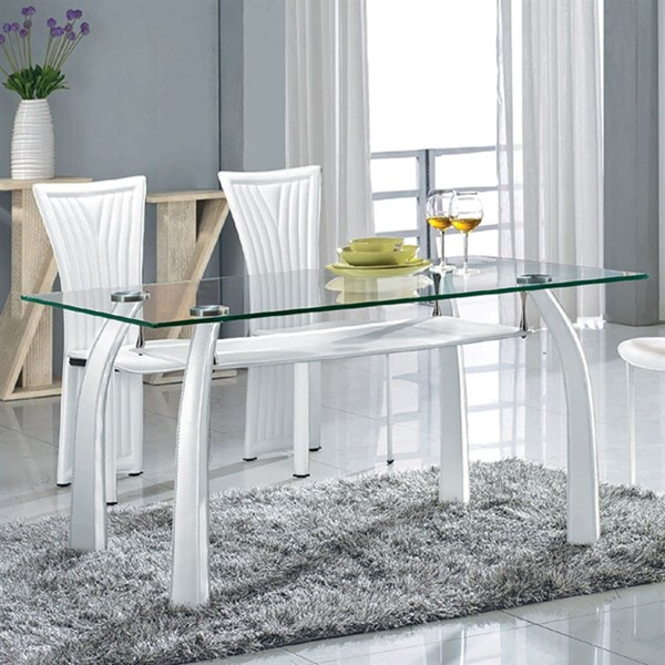 Ramona Modern Glass PVC Metal Dining Table CHF-RAMONA-DT-TB