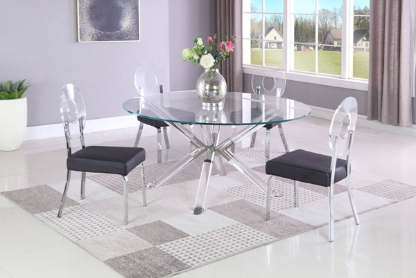Chintaly Imports Regina Clear Chrome Black 5pc Dining Room Set CHF-REGINA-LENOR-DR-S1