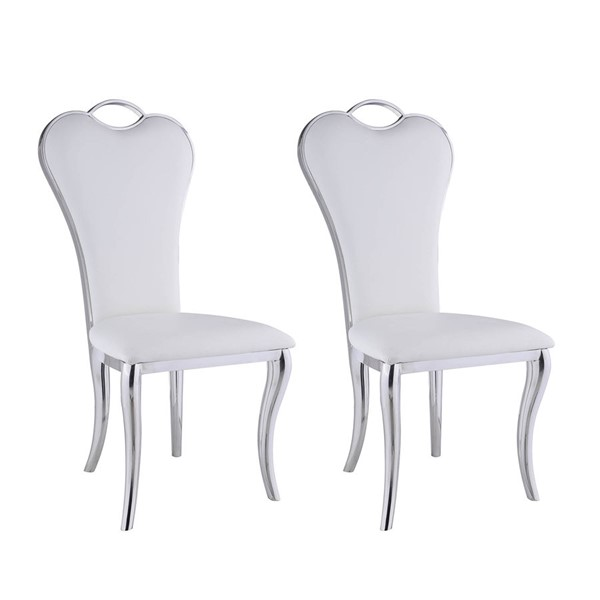 2 Chintaly Imports Regina Polished White Side Chairs CHF-REGINA-SC-WHT
