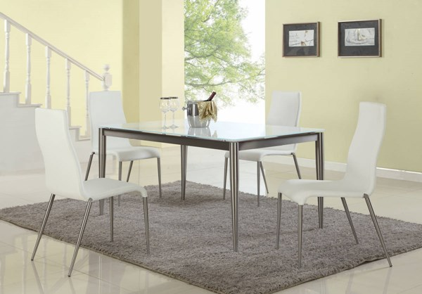 Remy White Glass Stainless Steel PU Dining Room Set CHF-REMY-DR