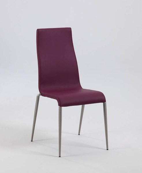 4 Remy Purple PU Contour Back Upholstered Stabled Side Chairs CHF-REMY-SC-PUP