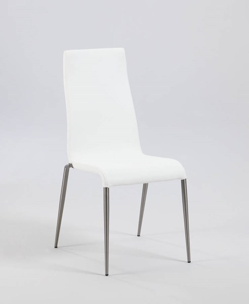 4 Remy White PU Contour Back Upholstered Stabled Side Chairs CHF-REMY-SC-WHT